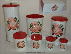 Pristine Set Vintage Decoware Kitchen Bread Box, Canisters, etc. 8 from piecesofold on Ruby Lane