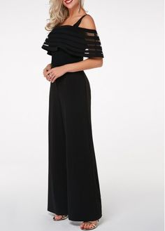 cf627b484cb2ee Sheer Striped Overlay Strappy Black Jumpsuit | liligal.com - USD $28.21