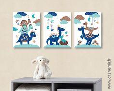 Décoration murale pour enfant bébé illustration enfant poster affiche enfant cadeau garçon dinosaure réf.117 : Chambre d'enfant, de bébé par cashemir