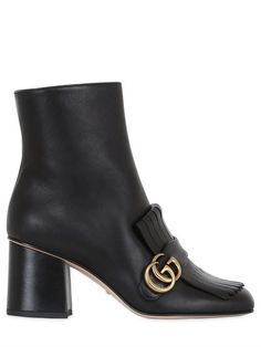 GUCCI - 75MM MARMONT FRINGED LEATHER BOOTS - BLACK