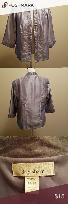 Lined shimmer gray jacket Sleeves 3/4, open front, lined jacket. Excellent  condition. Dress Barn Jackets & Coats Blazers