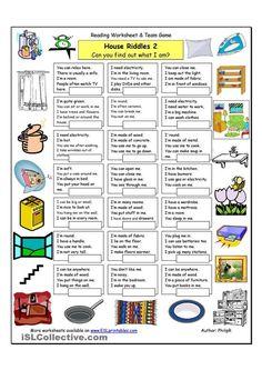 House Riddles 2 Medium worksheet Free ESL printable worksheets made by teachers Vocabulary List, English Vocabulary, English Grammar, Teaching English, English Games, English Activities, English Lessons, Learn English, Ingles Kids