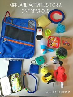 Airplane Activities for a One Year Old - Lots of great ideas for traveling with young toddlers!
