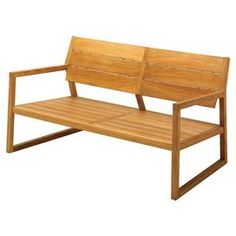 Teak bench with a contemporary square frame.   Product: BenchConstruction Material: TeakColor: BrownFeatures: Contemporary silhouetteDimensions: 30.5 H x 58.5 W x 33 DNote: Assembly required. Hardware included.Cleaning and Care: Clean thoroughly once or twice a year with a mild detergent