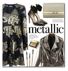 """""""Heavy Metal: Metallic Dresses"""" by beebeely-look ❤ liked on Polyvore featuring Burberry, P.A.R.O.S.H., Jimmy Choo, Pumps, dress, metallicdress, twinkledeals and PUleatherjacket"""