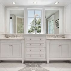 "Bathroom Design, Pictures, Remodel, Decor and Ideas - page 14  - love the window between the two mirrors - wonder if I could ""create"" a window between two mirrors with an old window frame...  hmmm..."