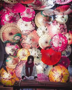 ITAP of a girl playing the Guzheng in Chengdu,Sichuan, China Asian New Year, Chinese New Year, Colorful Umbrellas, Umbrellas Parasols, Asian Party, New Years Decorations, Wall Art Designs, Artist Art, Chinoiserie