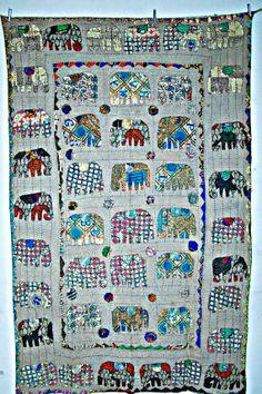 Kantha quilted Handmade Patchwork elephant quilt by JaipurHandloom, $49.99