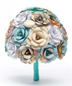 Look at this Beach Paper Flower Bridal Bouquet on #zulily today!
