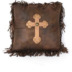 Rustic Cross Throw Pillow ($35) ❤ liked on Polyvore featuring home, home decor…