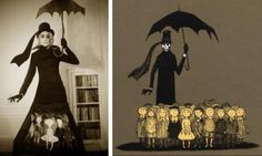The ridiculously talented Andrea Sparacio has created the literary Halloween costume of the year. I am in love!   Great homage to Gorey, whose characters were always so incredibly well turned-out. Previously: his six cats (and his one-room apartment); his fur coats (and his disavowal thereof); giving The Gashlycrumb Tinies to your eleven-year-old; and Earbrass, LTD: writers in search of reassignment.