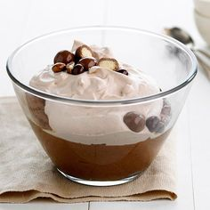 Chocolaty mousse topped with coco-flavored whipped cream and malted milk balls.