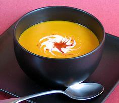 Kabocha Soup with Coconut-Sriracha Swirl