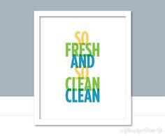 Bathroom wall art So Fresh and Clean print by MillieMaeDesignCo on Etsy Bathroom Prints, Bathroom Wall Art, Catchy Phrases, Fresh And Clean, Clean Clean, Printable Wall Art, Cleaning, Messages, Stuff To Buy