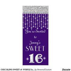 CHIC BLING SWEET 16  PURPLE Invitation
