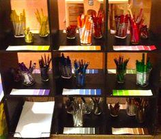 Color shelves for writing center! :)