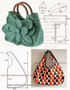Diy Bags Patterns, Purse Patterns, Bag Pattern Free, Wallet Pattern, Leather Bags Handmade, Handmade Bags, Wooden Handle Bag, Diy Sac, Denim Handbags