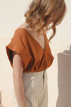 Rose Crop Top in Camel