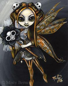 Halloween fairy art big eye girl gothic day of by gossamerfaery
