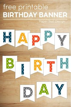 Easy DIY Happy birthday banner to print and hang for a birthday party. The perfect happy birthday sign. #papertraildesign #birthdaypartyideas #birthdaybash #covidbirthday Diy Birthday Sign, Happy Birthday Banner Printable, Birthday Party At Home, Happy Birthday Bunting, Happy Birthday Signs, Diy Birthday Decorations, Birthday Fun, Small Birthday Parties, Polka Dot Birthday