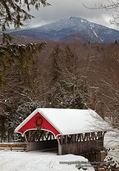 Pemigewasset River Bridge, New Hampshire with Mount Liberty in the background; photo by .Jeffery Newcomer