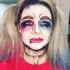 Harley Quinn comic book style make up for Halloween. Halloween inspo