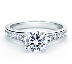 Style ME1655 Channel Set Forevermark® Diamond Engagaement Ring. #round #channel #simple
