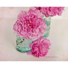 Pink Peonies Mint Mason Jar Photo Peony Bouquet Print Vintage Pastel