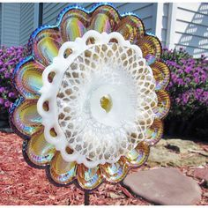 Yard Art Outdoor Garden Decoration Carnival Glass Egg Plate Flower... (€126) via Polyvore featuring home, outdoors, outdoor decor, glass garden decor, outdoor patio decor, outside garden decor, glass flower stems and flower stem