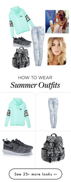 """""""school outfit"""" by xogarciaa on Polyvore featuring мода, Victoria's Secret PINK, NIKE и Aéropostale"""