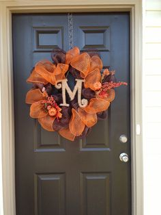 Fall wreath I made with twine letter
