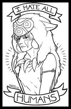 Princess Mononoke, 2013. Jessica Dawn's Art and Tattoo Design.