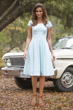 light blue short sleeved,a-line vintage,beautiful dress