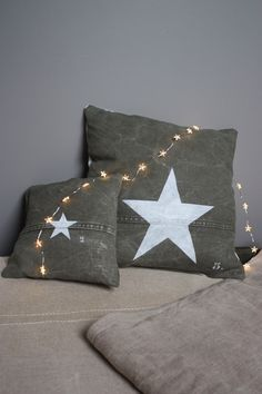 Love Stars, Stars And Moon, Wood Flowers, Star Decorations, Christmas Night, Twinkle Twinkle Little Star, Recycled Fabric, Cushions, Throw Pillows