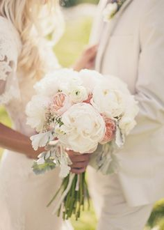 dusty miller and english garden rose bouquet