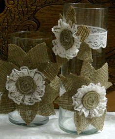 Burlap Wedding Shower Ideas   burlap centerpieces   Bridal Shower/ Reception Ideas :)