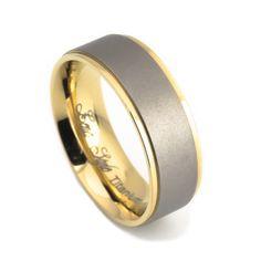 Men's 14K gold satin finish titanium wedding bands