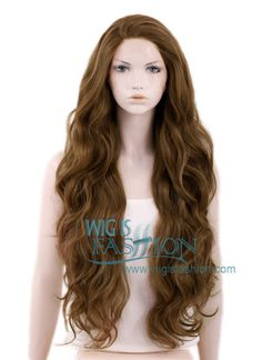 "28"" Long Curly Brown Customizable Lace Front Synthetic Hair Wig LF667J"