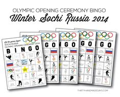 oh yesssssssss. // Winter Olympics Opening Ceremony BINGO- 5 printable sheets from www.thirtyhandmadedays.com