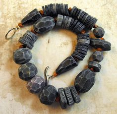 "https://flic.kr/p/fHKfJ6 | Carved Charcoal Necklace | Polymer Clay Necklace inspired by Genevieve Williamson ""Jibby and Juna""  de.dawanda.com/product/50327210-Unikatkette-Black-Charcoa..."