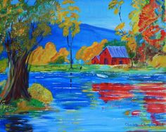 Limited Edition Print of Original Art Acrylic Red Barn on the Big River - pinned by pin4etsy.com