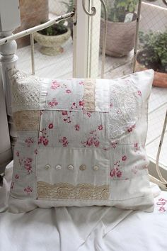 """""""Patchwork cushion of Louise's French antique cloth of"""" Koh Kong, Fuat Coconfouato [antique lighting and antique furniture] antique cross antique fabric antique textile fabric lace --cloth--"""