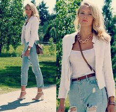Necklace/Bracelet, Tank Top (In Pink), Jacket, Jeans, Daniel Wellington Watch, Shoes