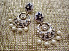 7b4b1698d7 These Blue & White Chaandbali Earrings Are Made Of Alloy And  Embellished With Enameled &