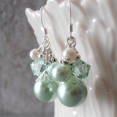 Mint Green Dangle Earrings Pearl Cluster by FiveLittleGems on Etsy