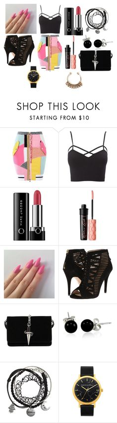 """""""girls night out"""" by aniapenguin on Polyvore featuring Moschino, Charlotte Russe, Marc Jacobs, Benefit, Nine West, Cesare Paciotti and Bling Jewelry"""