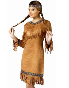 Sexy Native American Indian Princess Pocahontas Faux Suede Halloween Costume M L | eBay