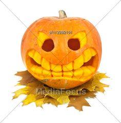 Halloween Pumpkin And Leaf Isolated Stock Photo #halloween #halloweenimages