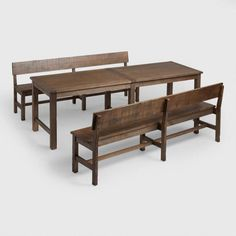 Distressed Brown Wood Gulianna Extra Long Dining Bench - v6