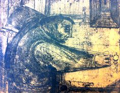 The Billiard Player Monoprint 1949 by John Shelton sold Aug 2013